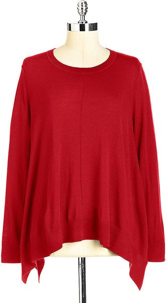 Dkny Sharkbite Wool Sweater in Red - Lyst