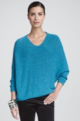 Eileen Fisher Airy Alpaca Crimp Sweater Top in Blue (AZURE (TEAL)) - Lyst