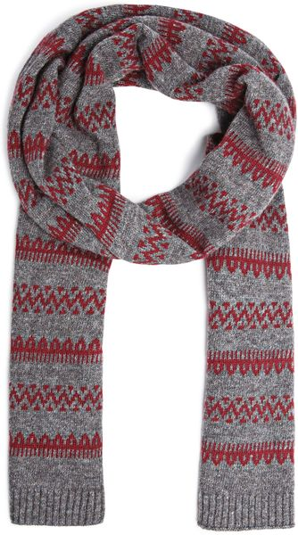 Mango Fair Isle Pattern Knit Scarf in Brown (Maroon) Lyst