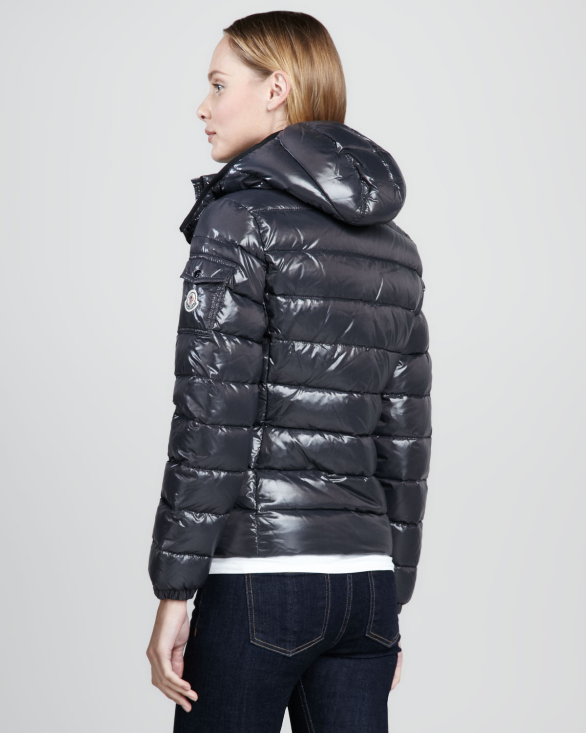 Moncler Bady Short Puffer Jacket Gray In Black Lyst