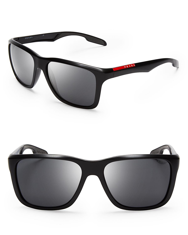 Prada Lifestyle Sport Wayfarer Sunglasses In Black For Men