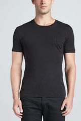 Ralph Lauren Black Label Pocket Crewneck Tee Black - Lyst