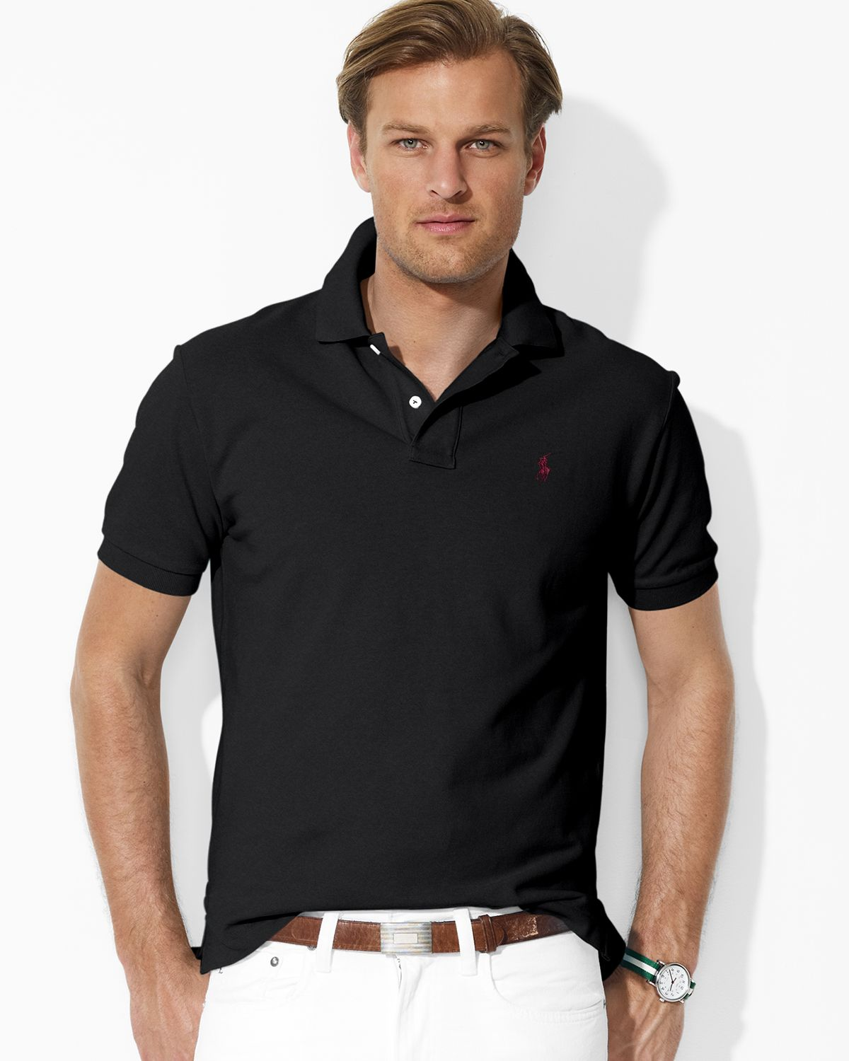 Ralph lauren Polo Custom Fit Short Sleeved Cotton Mesh Polo in Black for Men | Lyst