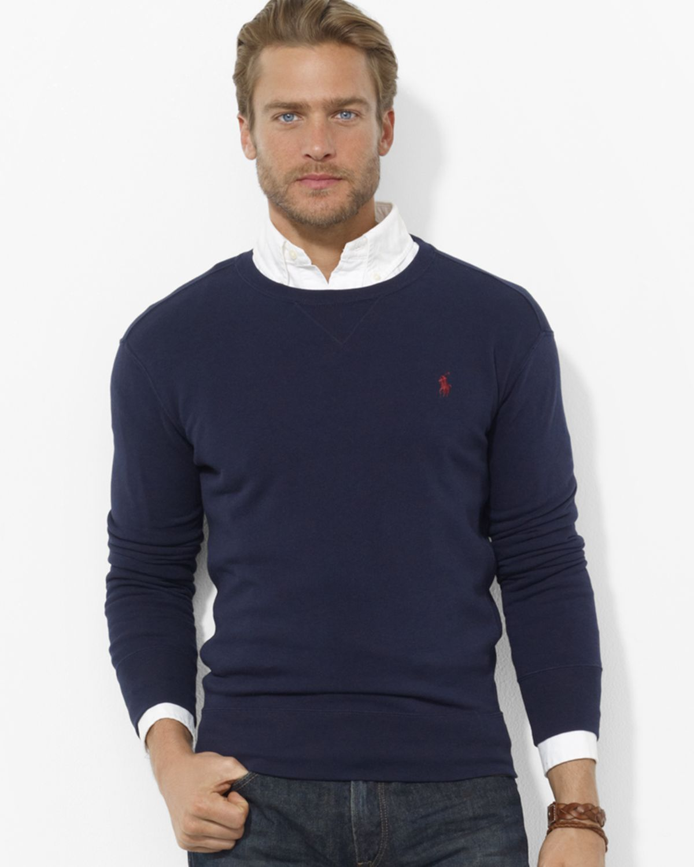 ralph lauren polo fleece crewneck pullover in blue for men hunter. Black Bedroom Furniture Sets. Home Design Ideas