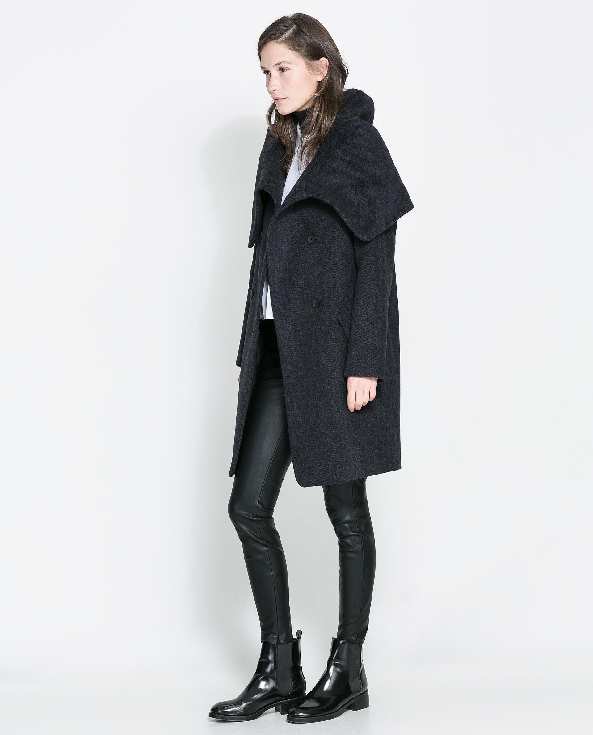 Zara Wollen Wraparound Coat in Gray | Lyst