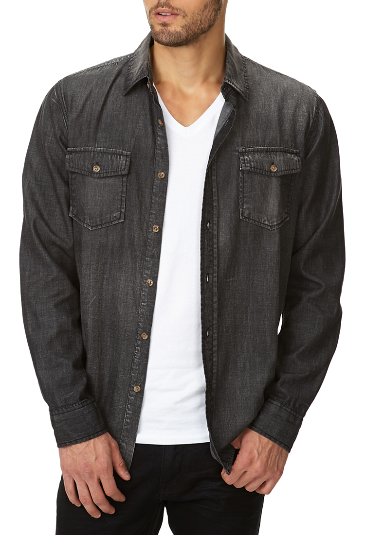 forever 21 slim fit chambray shirt in gray for men lyst