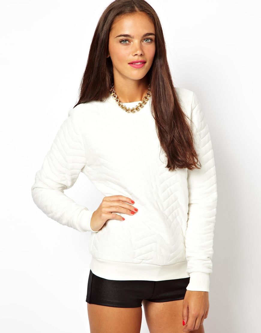 Asos Sweatshirt with Zig Zag Quilting in White | Lyst