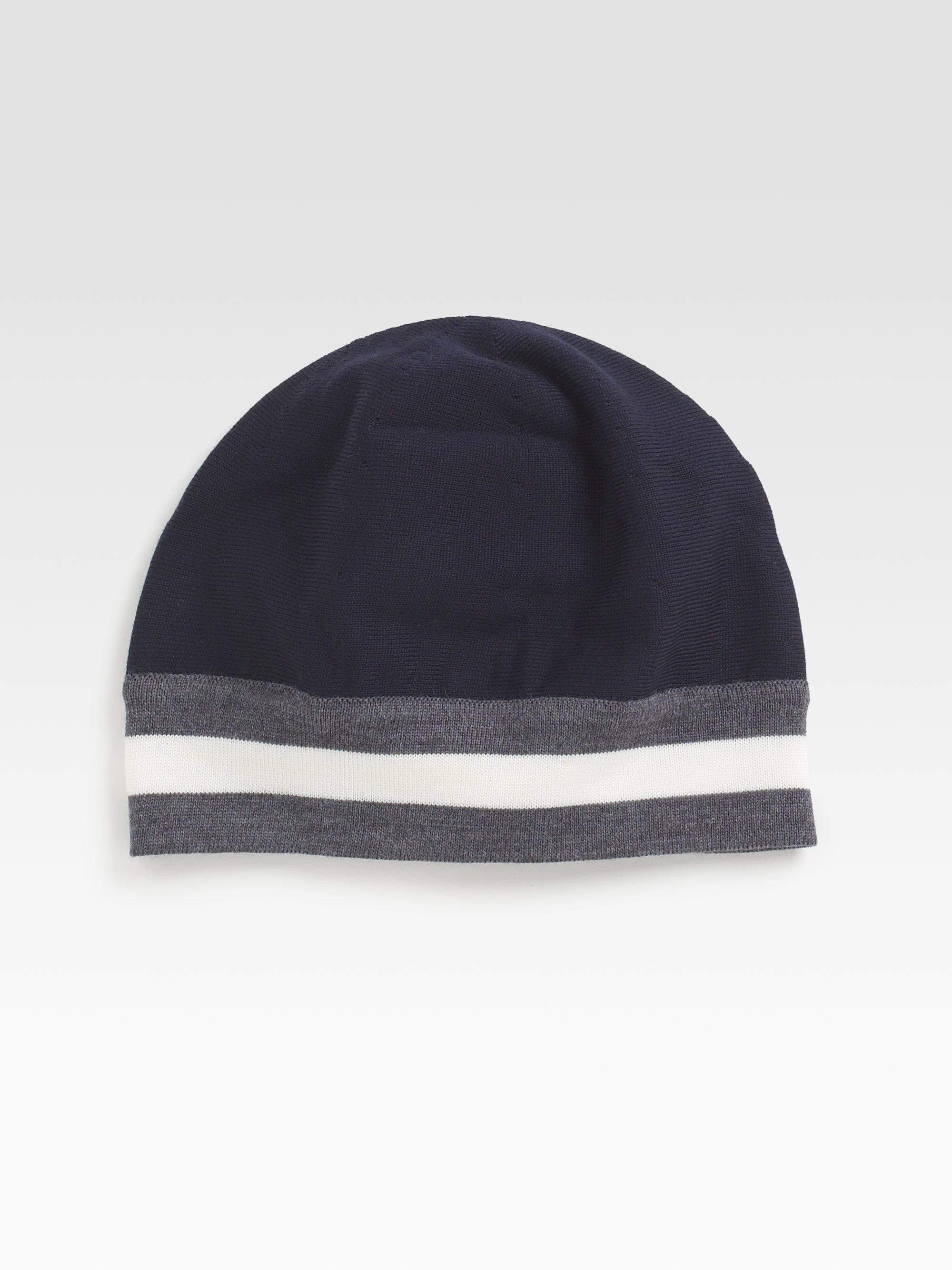 Bally Stripe Beanie Hat Blue, Mens wool beanie hat in blue navy Bally