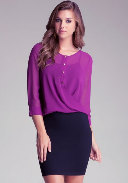 Bebe Sheer Button Up Wrap Blouse in Purple   Lyst