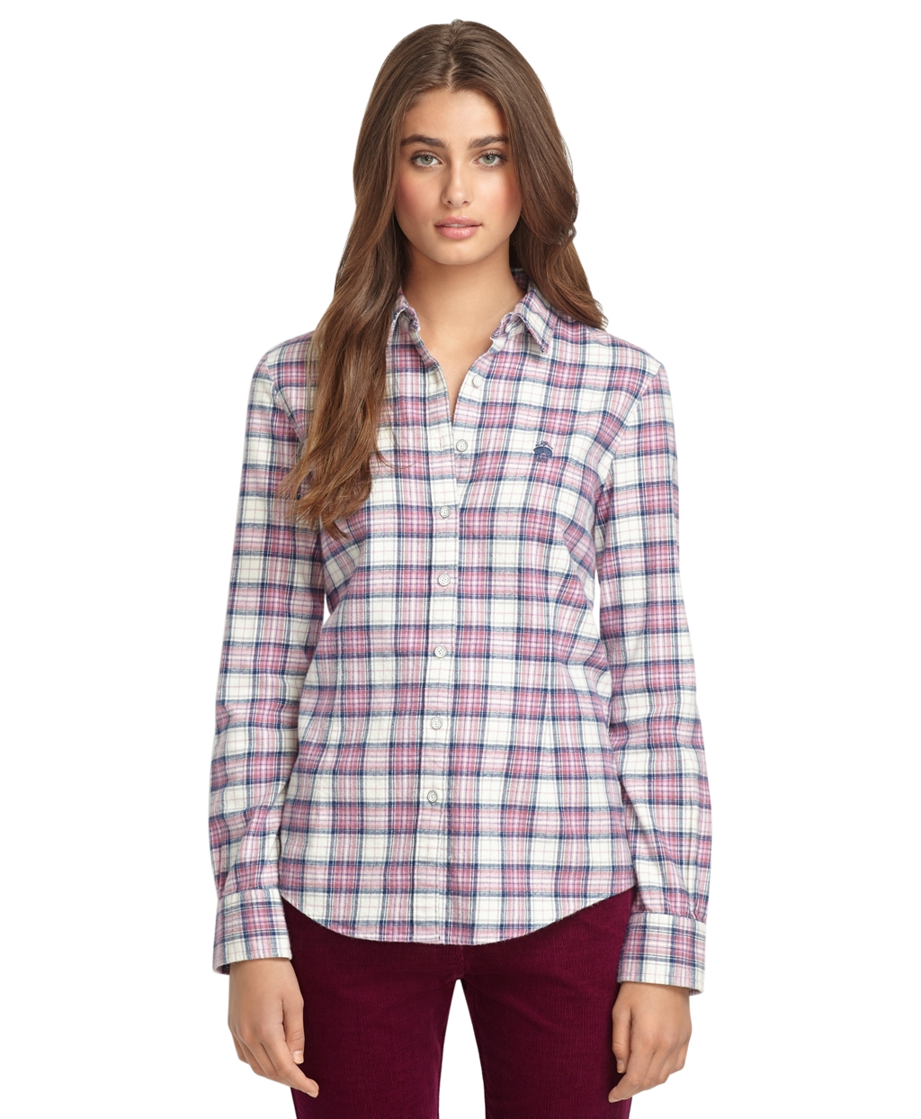 Brooks brothers plaid flannel shirt in gray pink grey lyst for Grey plaid shirt womens