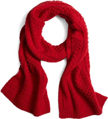 brothers and wool cable knit scarf in