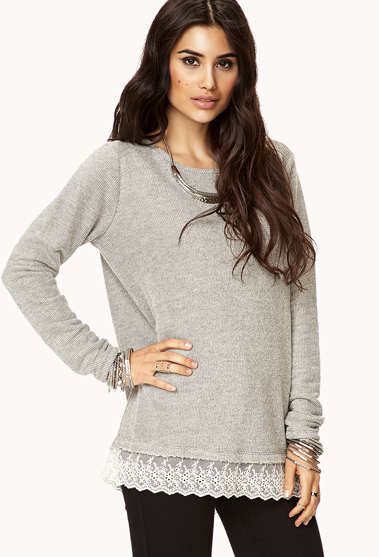 Sweaters With Lace Trim On Bottom