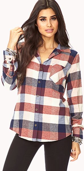 Forever 21 Rustic Plaid Shirt - Lyst