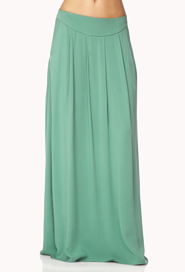 forever 21 pleated maxi skirt in green lyst