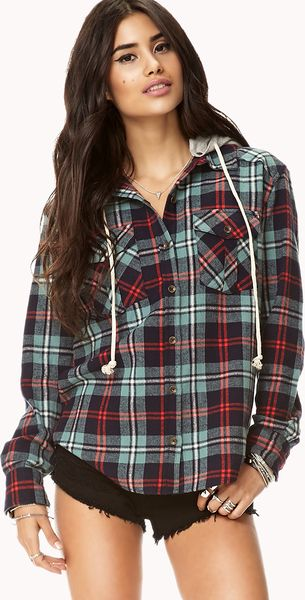 Forever 21 Rustic Hooded Plaid Flannel In Blue Sea Green