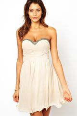 Little Mistress Bandeau Prom Dress with Embellished Trim - Lyst