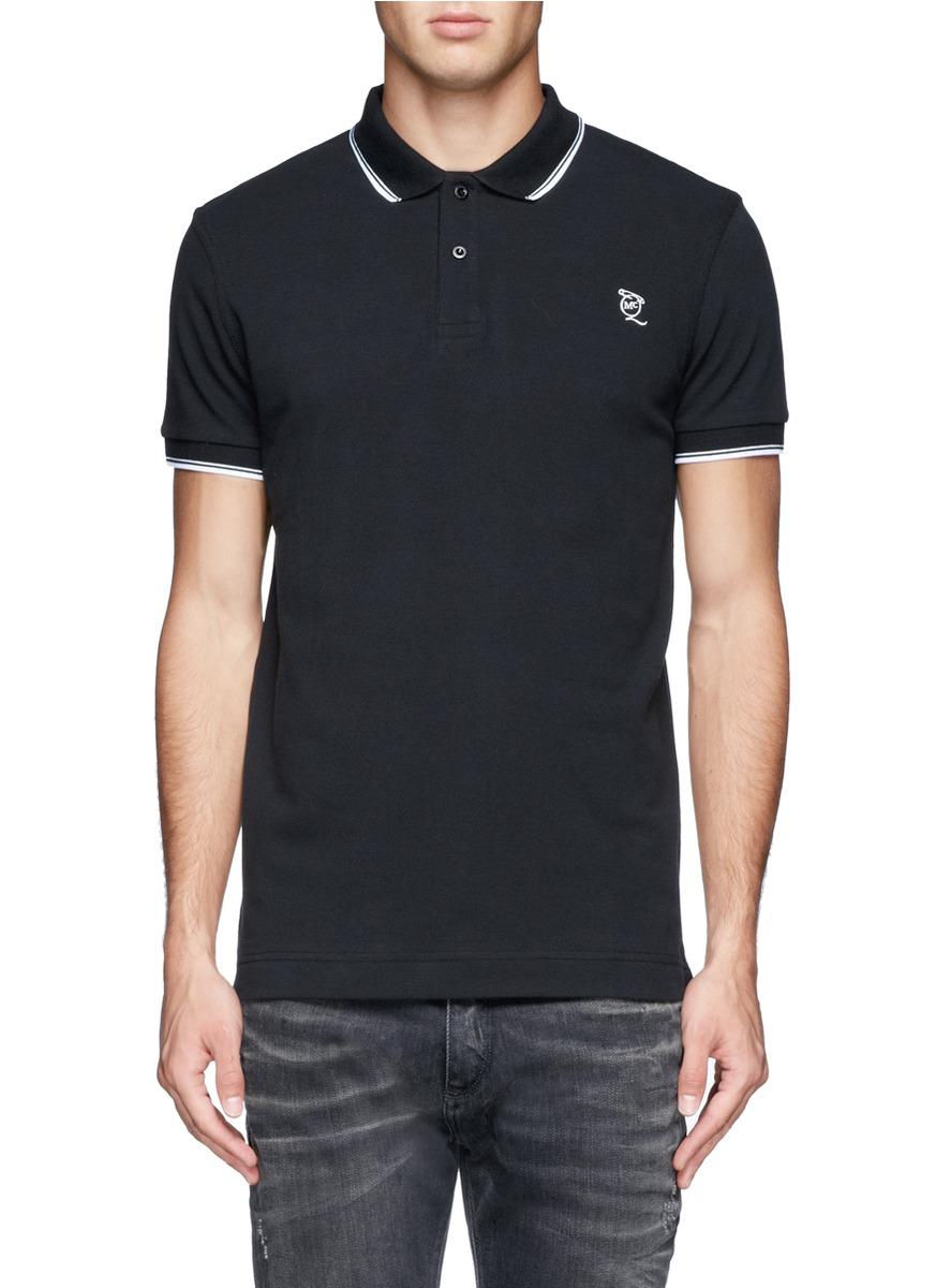 Mcq cotton piqu polo shirt in black for men lyst for Black cotton polo shirt