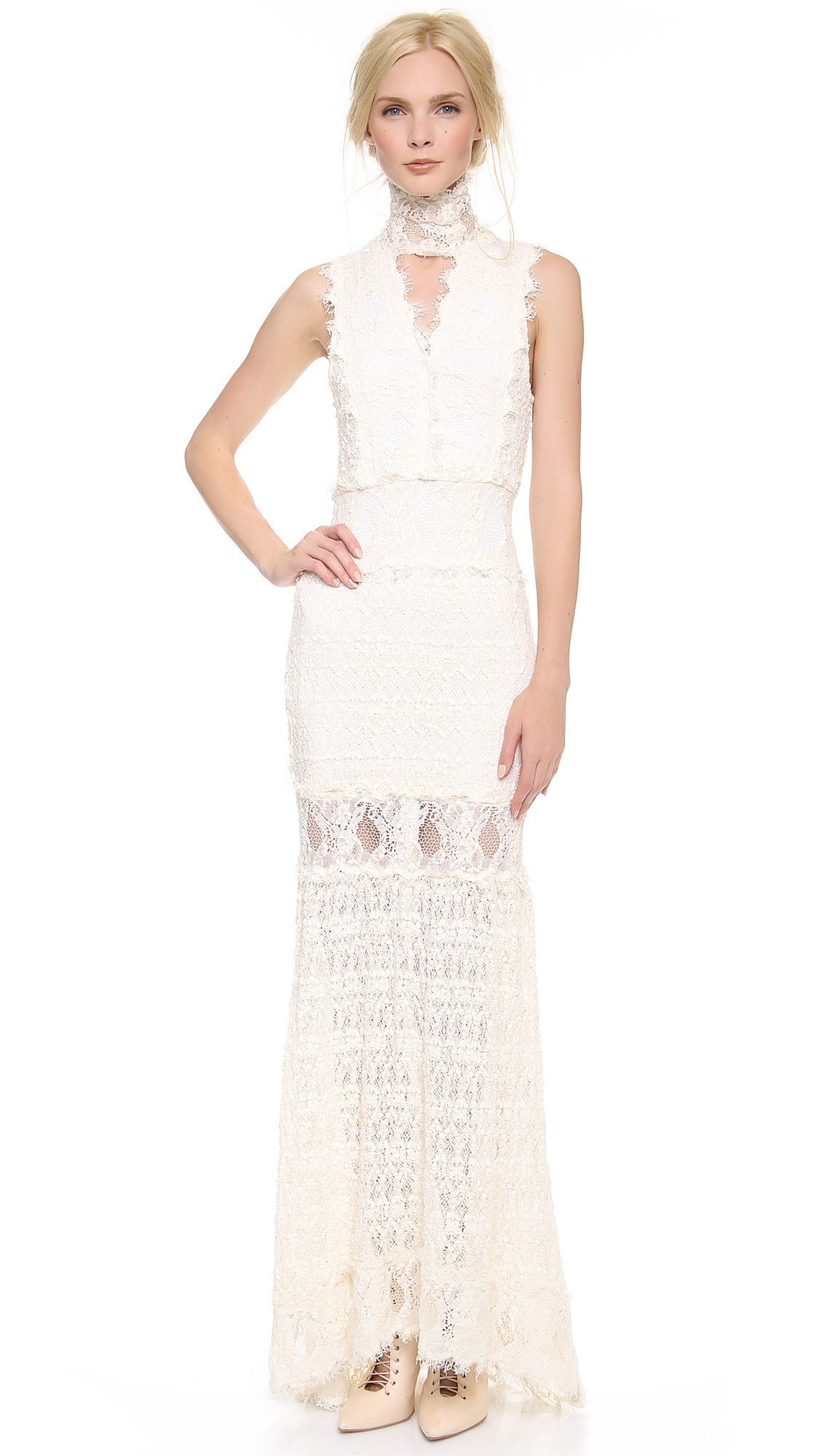 Nightcap caletto maxi dress white long sleeve