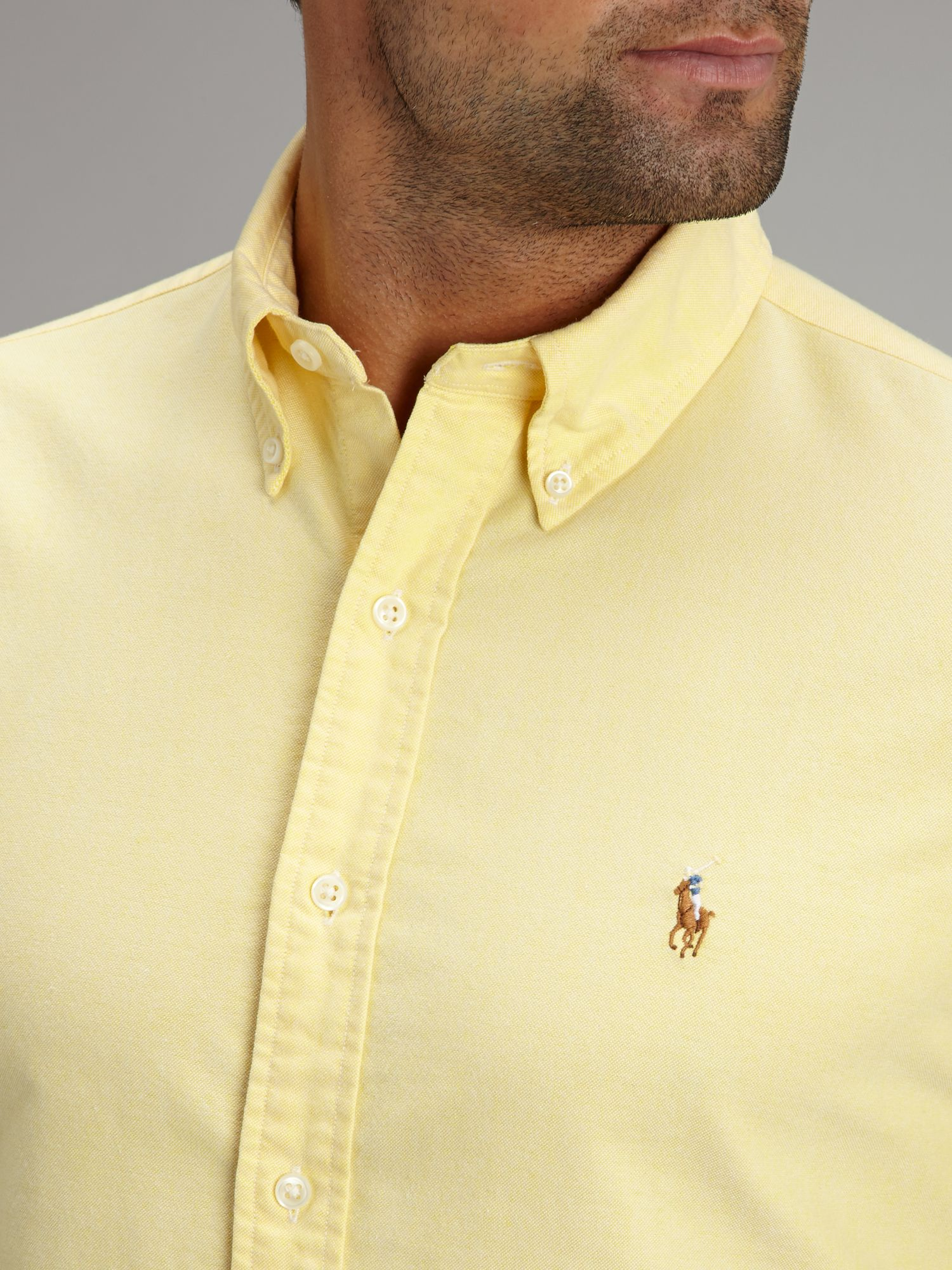 polo ralph lauren classic long sleeve shirt in yellow for men lyst. Black Bedroom Furniture Sets. Home Design Ideas