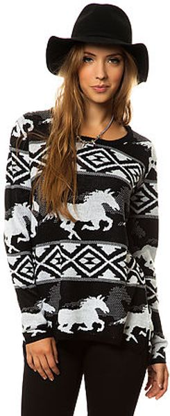 Rvca The Buddy Wild Horse Sweater in White (Black) - Lyst