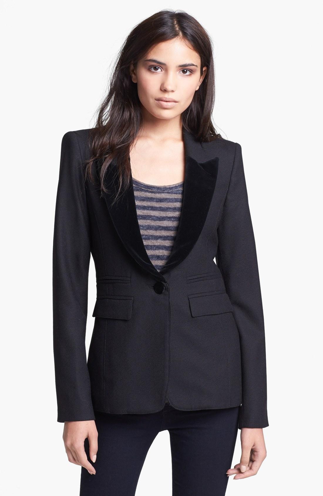 Smythe Peaked Velvet Lapel Tuxedo Blazer In Black Lyst