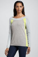White + Warren Colorblocked Longsleeve Cashmere Sweater White Warren - Lyst
