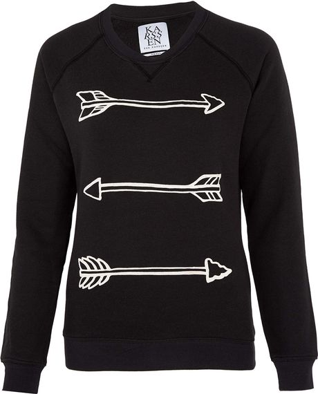 Zoe Karssen Black Arrow Print Sweatshirt in Black