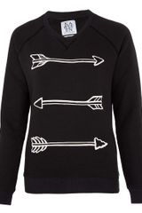 Zoe Karssen Black Arrow Print Sweatshirt in Black - Lyst