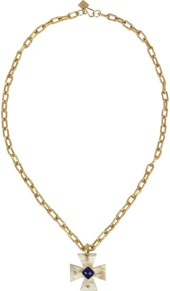 Ashley Pittman Nyota Goldtone Horn and Lapis Lazuli Necklace - Lyst