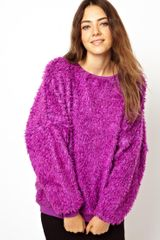 Asos Oversized Jumper in Furry Fabric - Lyst