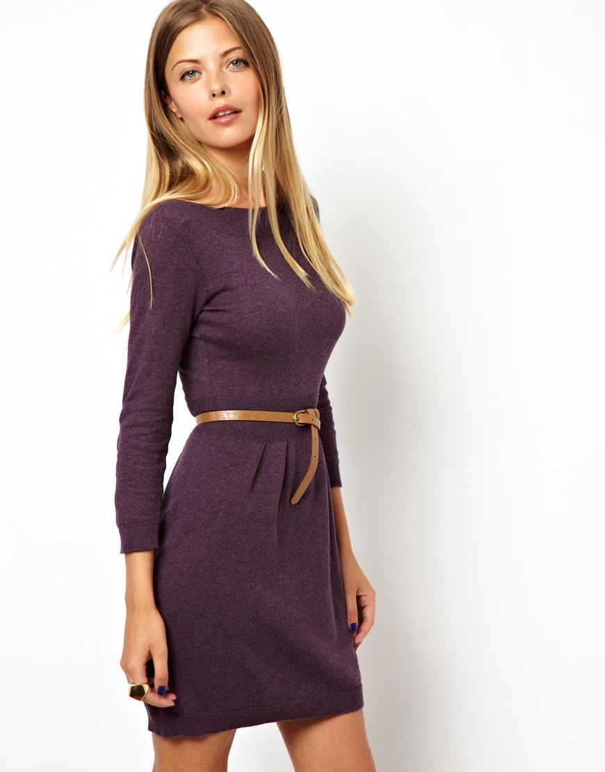 8dec9c052c8f ASOS Slash Neck Knitted Dress With Belt in Purple - Lyst
