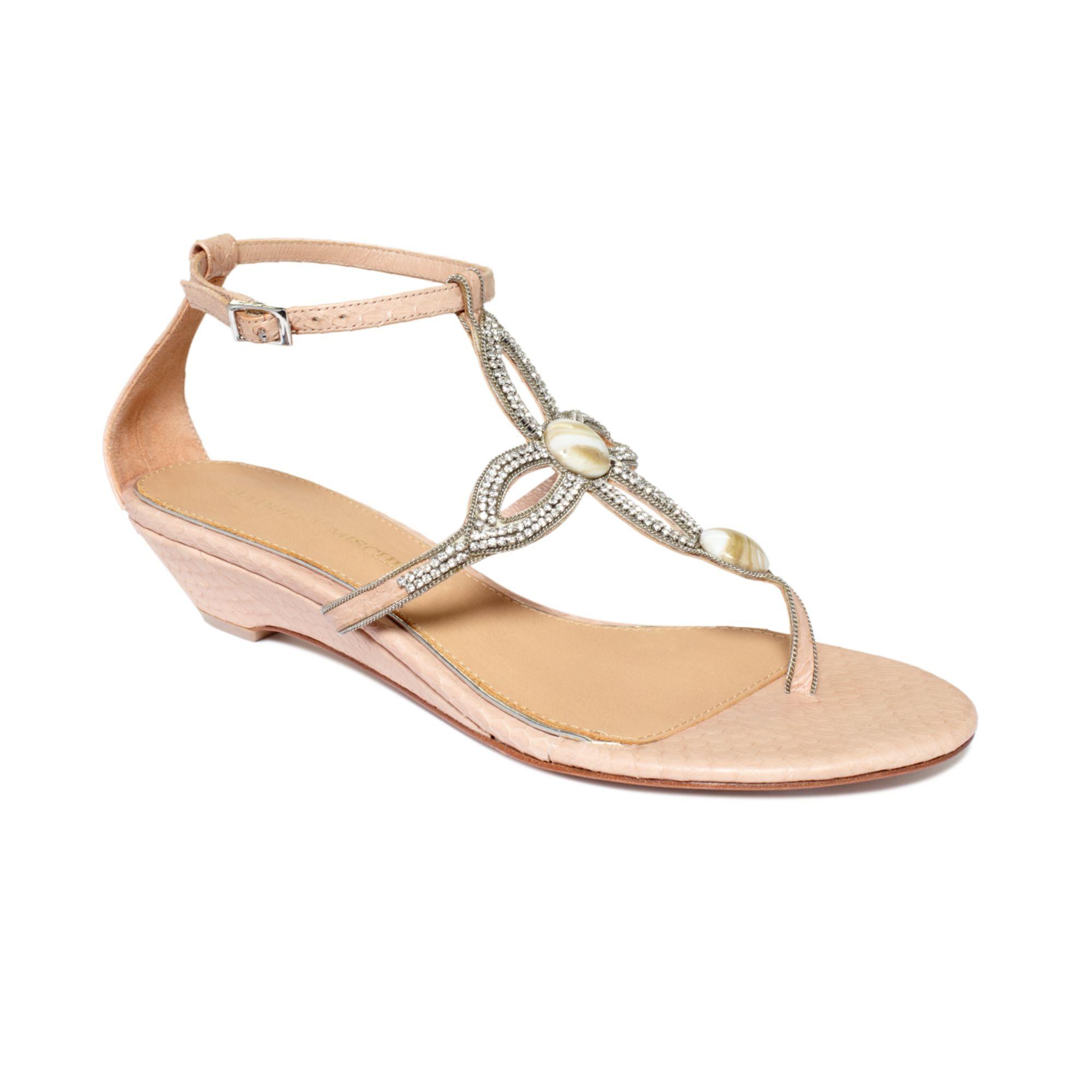 badgley mischka coye demi wedge sandals in beige