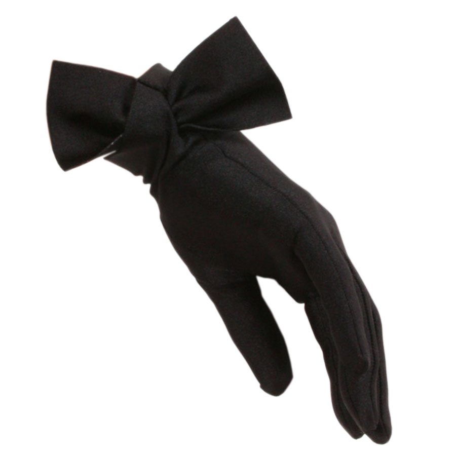Black gloves with bow -