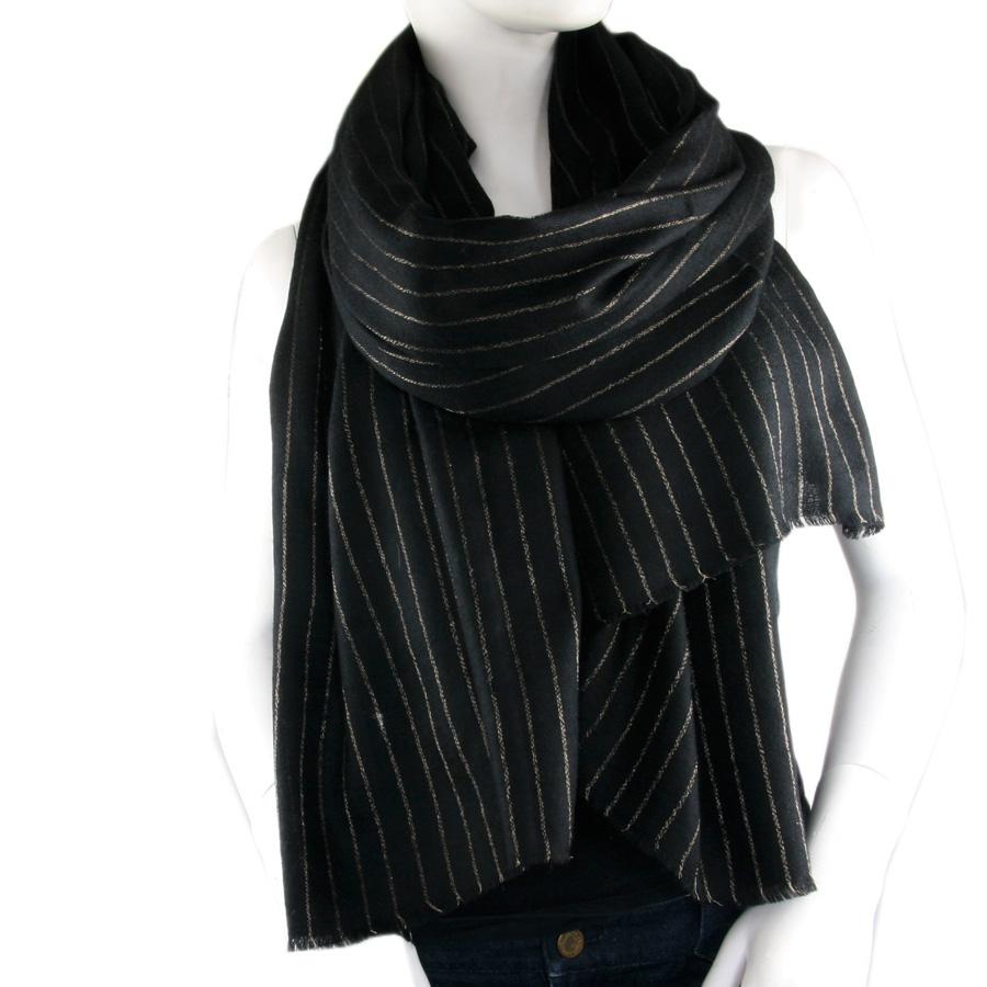 Black.co.uk Black Cashmere Shawl With Fine Gold Stripe