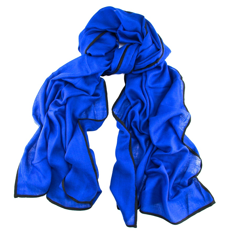 Black.co.uk Trinity Blue And Black Scarf - Cashmere And Silk in ...