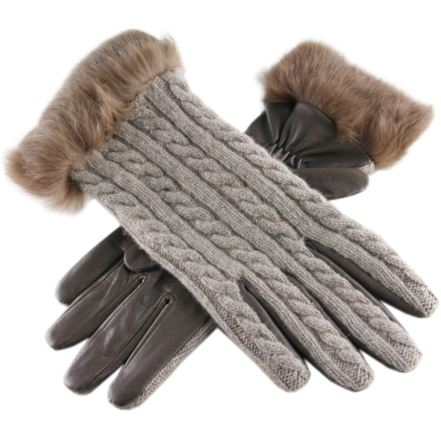 Leather work gloves ebay -  Black Co Uk Brown Cashmere And Leather Gloves With Rabbit Fur Cuff