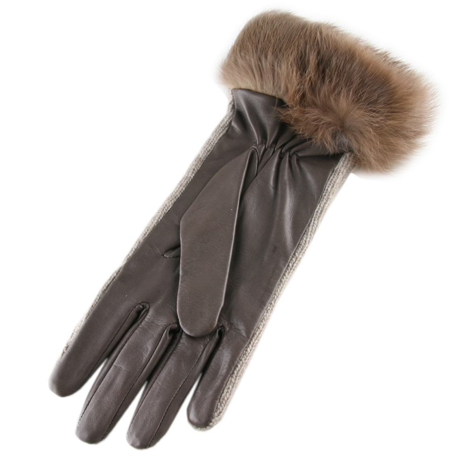 Black Co Uk Brown Cashmere And Leather Gloves With Rabbit