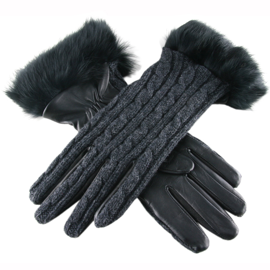 Black leather gloves with fur - Gallery