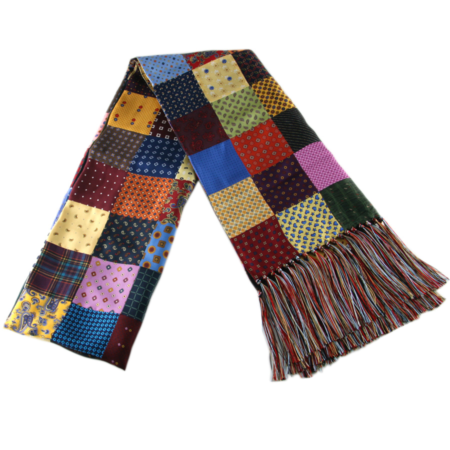 black co uk multicolour patchwork silk scarf with