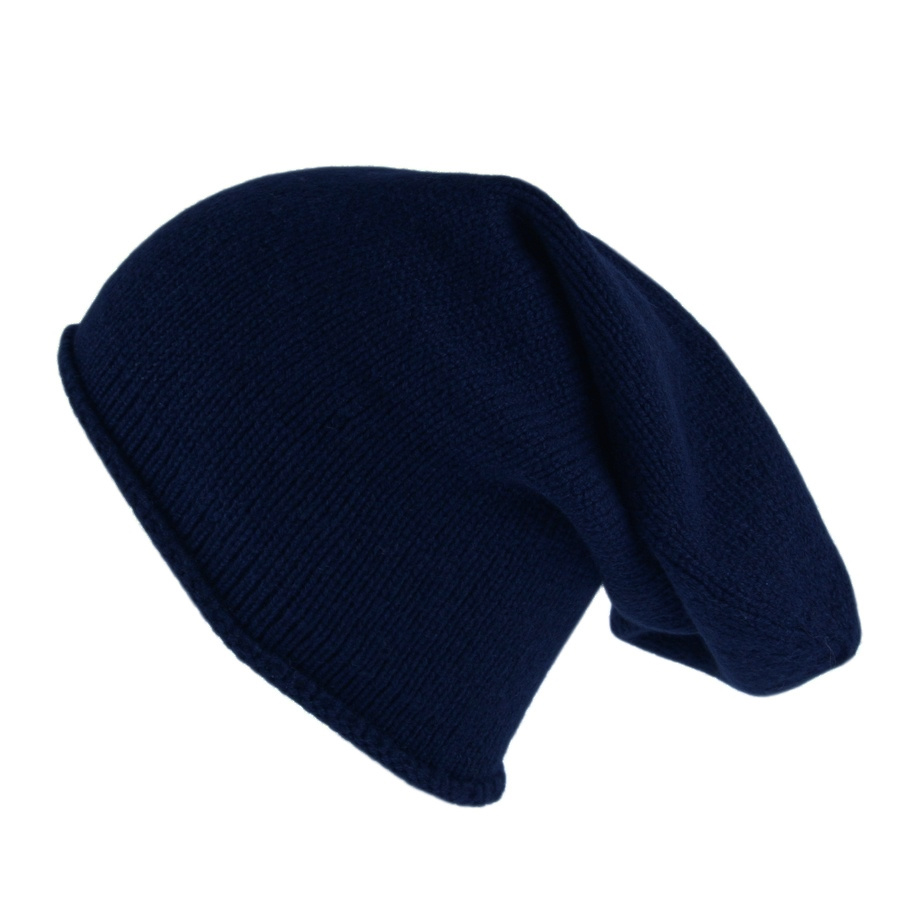 Lyst - Black.co.uk Navy Blue Cashmere Slouch Beanie Hat in Blue for Men f2e5ff01432