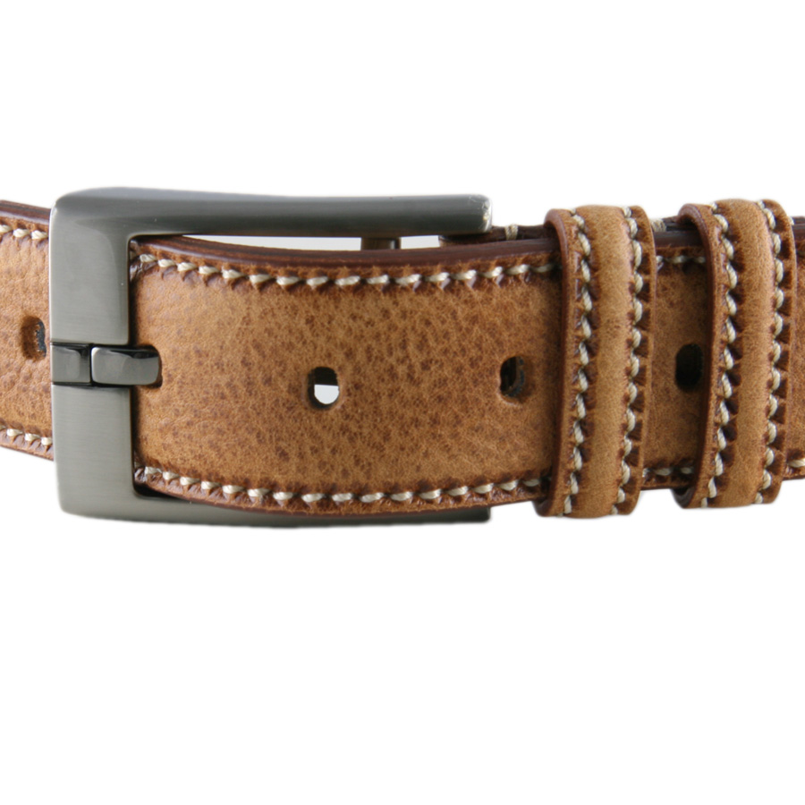 Black Co Uk Tan Speckled Leather Belt With Saddle Stitch