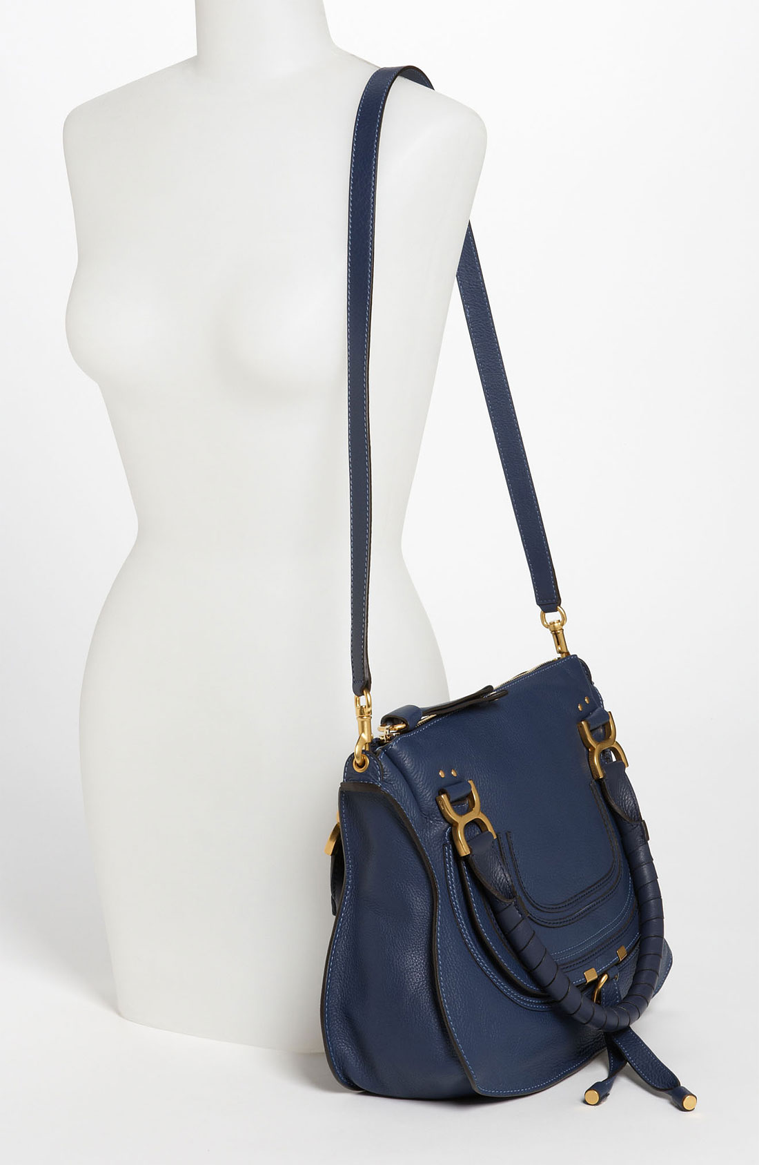 chloe marcie gray - Chlo�� Marcie Small Leather Satchel in Blue (Royal) | Lyst