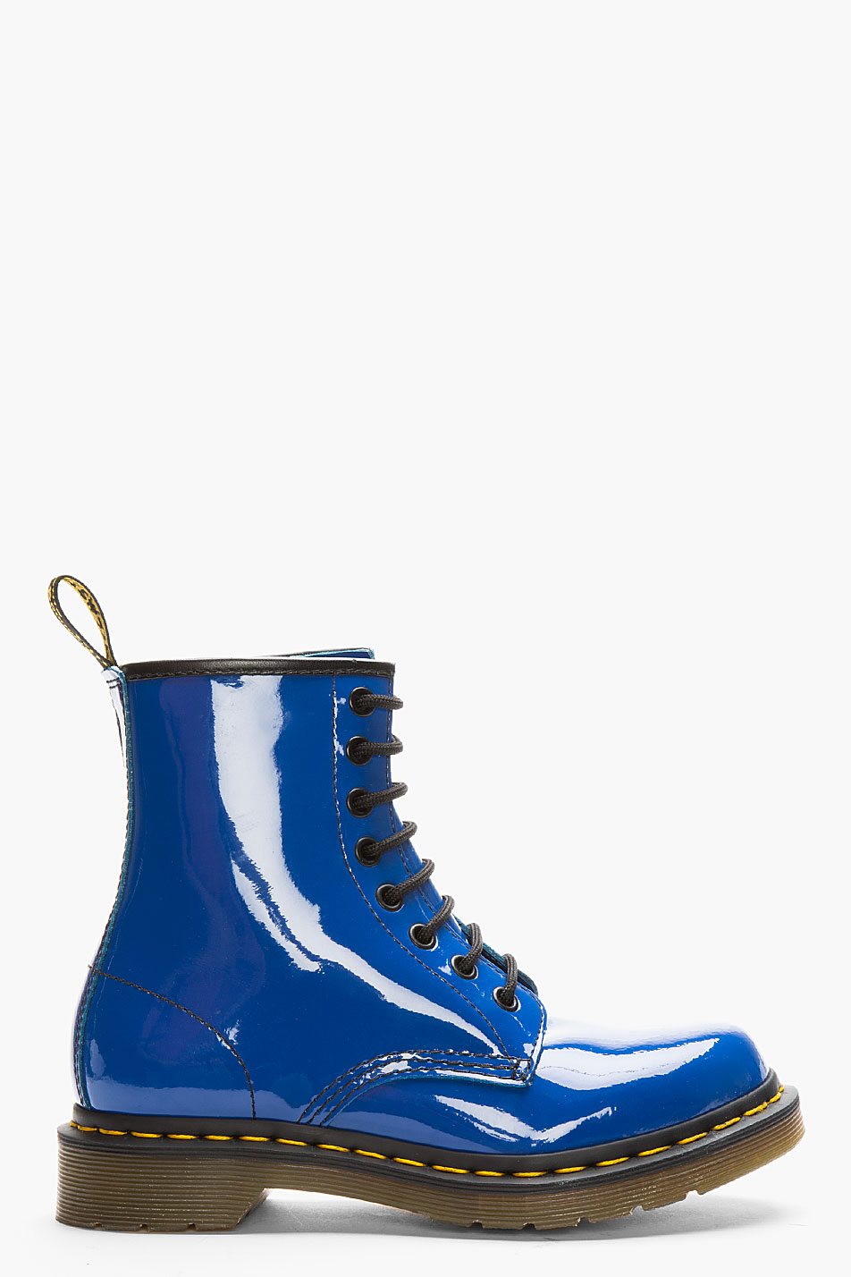 Dr Martens Royal Blue Patent Leather W 8 Eye Boots In