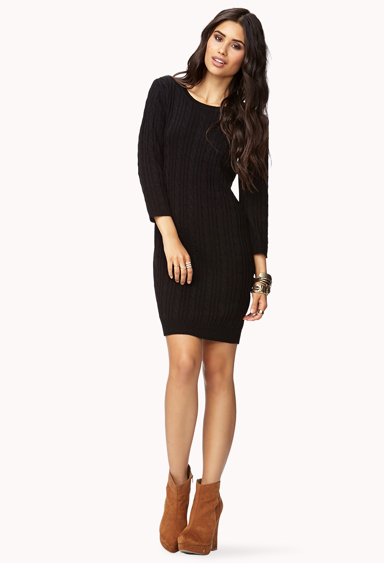 598615455f Forever 21 Contemporary Essential Cable Sweater Dress in Black - Lyst