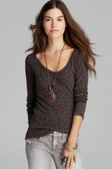 Free People Top Leopard Printed Desperate Thermal - Lyst