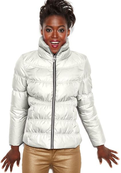 Guess Coat Funnelneck Quilted Puffer In White Cream Lyst