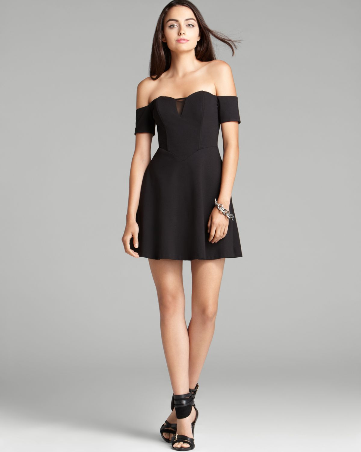 Guess Dress Off Shoulder Fit And Flare In Black Lyst