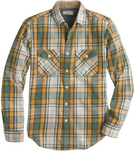 Heavyweight flannel shirt in bronzed sun plaid in for Mens yellow plaid flannel shirt