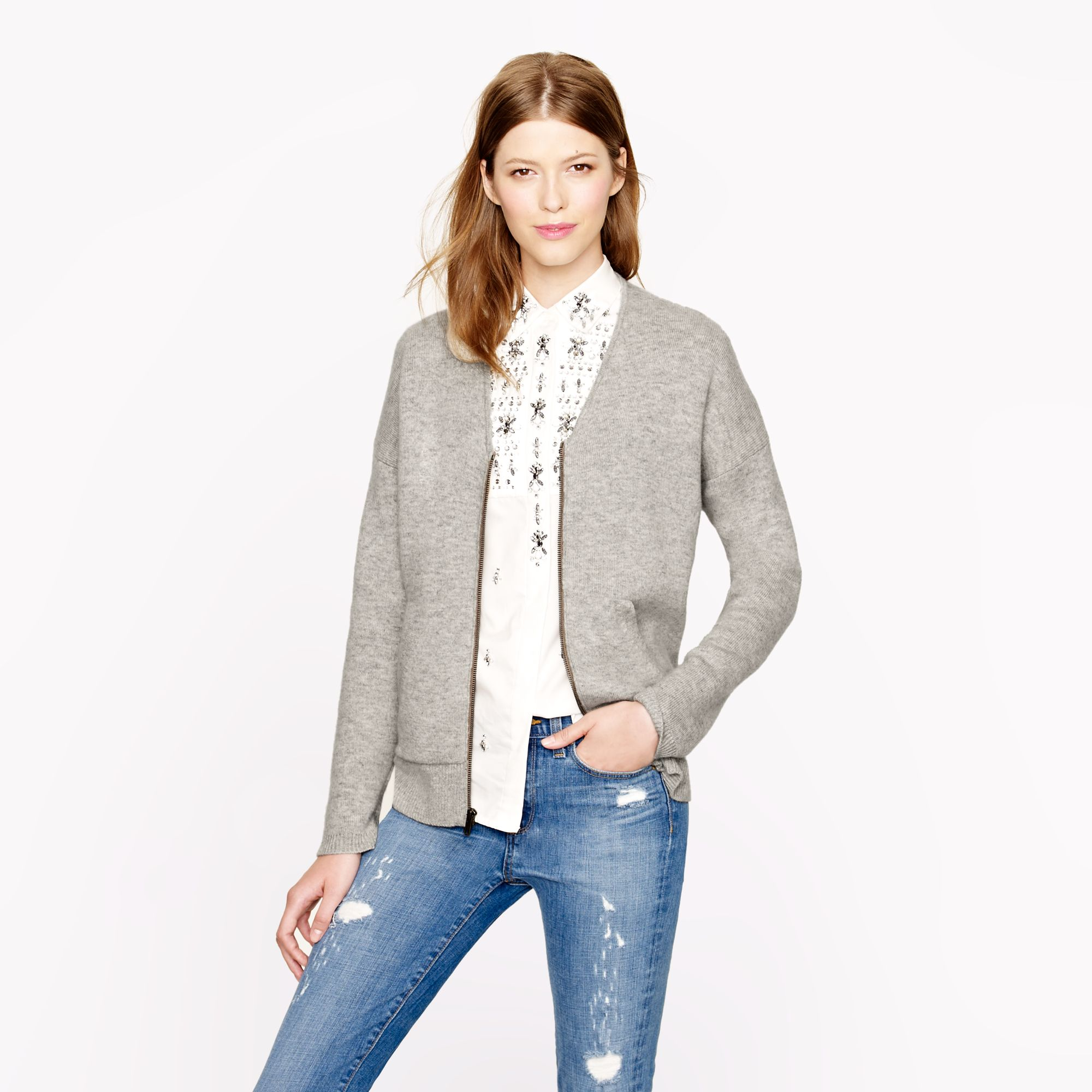 892bc261c Lyst - J.Crew Collection Bonded Cashmere Zip Sweater-jacket in Gray