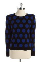 Kensie Reversible Polka Dot Sweater in Blue (black) - Lyst